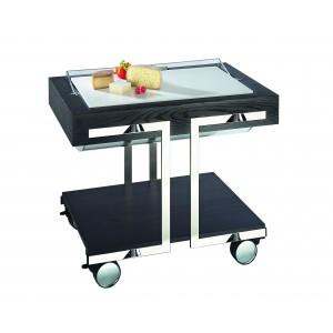 Cheese trolley with polyethylene cutting board.
