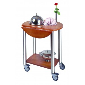 Room and restaurant round service trolley, with two reclining surfaces.