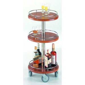 Round liqueur trolley with three shelves. European Beech Wood. Metal Parts Stainless Steel 18/10. Steel Legs.