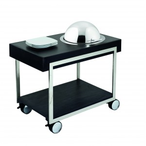 Warming trolley with chafing dish in stainless steel and electrical resistance with adjustable thermostat; roll-top cover.