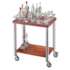 Brandy trolley. Solid Wood. Stainless Steel. Solid Wood Legs.