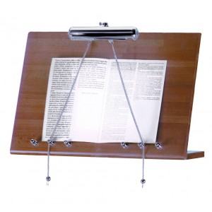 Wood wall menu stand with lamp.