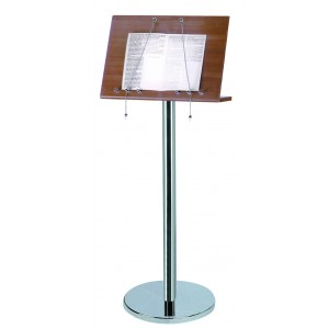 Wood and stainless steel menu stand.