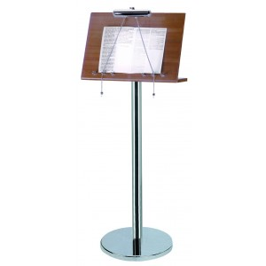 Wood and stainless steel menu stand with lamp.