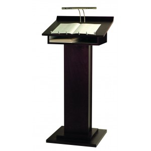 Wood conference lectern with lamp.