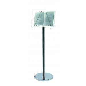 Plexy and stainless steel menu stand.