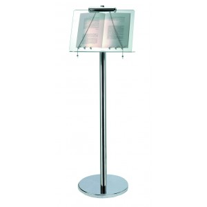 Plexy and stainless steel menu stand with lamp.
