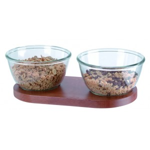 Cereal stand with two glass bowls (Ø cm 21). L cm 44x22 - H cm 14