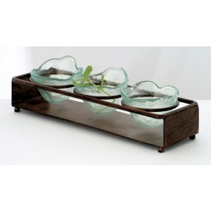 "14.25"" x 4.75"" Rectangular Cabo 3-Ring Condiment Stand w/ Brown Turtle Shell Finish, 2.75"" tall (fits GL-RNDBWL4)"
