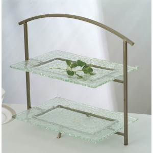 "15.5"" x 5"" Rectangular 2-Tier Tabletop Riser w/ Satin Finish, 13.5"" tall (fits CD-1101, GL-REC12)"