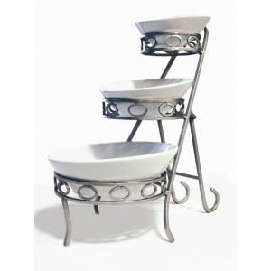 "10"" x 17.75"" Oval 3-Tier Angled Riser w/ Satin Finish, 17"" tall (fits C9000A Bowl Set)"