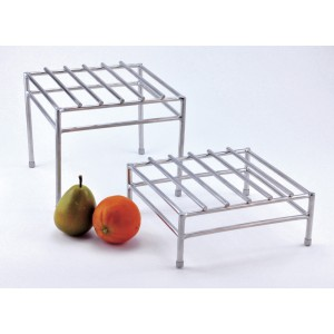 "9.5"" Square Stainless Steel Tubular Bars Riser w/ Brushed Finish, 8"" tall"