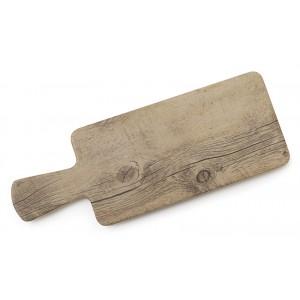 """11"""" x 5.5"""" Faux Oak Wood Display w/ Foot, 14.75"""" w/ Handle, 0.75"""" tall"""