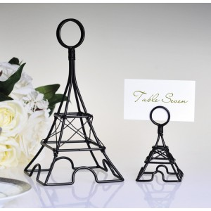 "Large Black Eiffel Tower Card Holder, 8"" Tall"