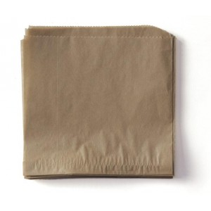 "7"" x 7"" Food-Safe Double-Open Bag / Wire Cone Basket Liner / Deli Wrap, Brown, 2000 pieces./cs."