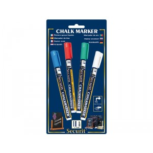 Securit Liquid chalkmarker coloured set of 4 - small 1-2mm Nib - Blister card  - blue, red, green, white