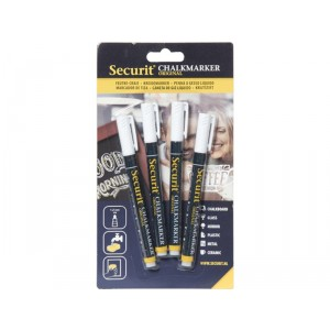 Securit Liquid chalkmarker white set of 4 - small 1-2mm Nib - Blister card