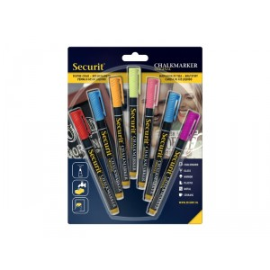 Securit Liquid chalkmarker coloured set of 7 - small 1-2mm Nib - Blister card  - red, blue, yellow, green, pink, orange, Violet