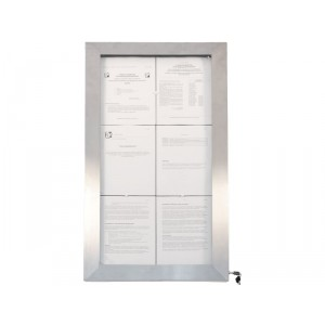 Securit LED information display - coloured LEDs - stainless steel - Remote included - displays 6xA4 Pages