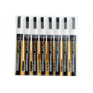Securit Liquid chalkmarker white set of 8 - medium 2-6mm Nib - Wallet
