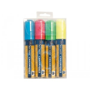 Securit Liquid chalkmarker, Coloured  - large 7-15mm Nib - Wallet  - blue, red, green, white - set of 4